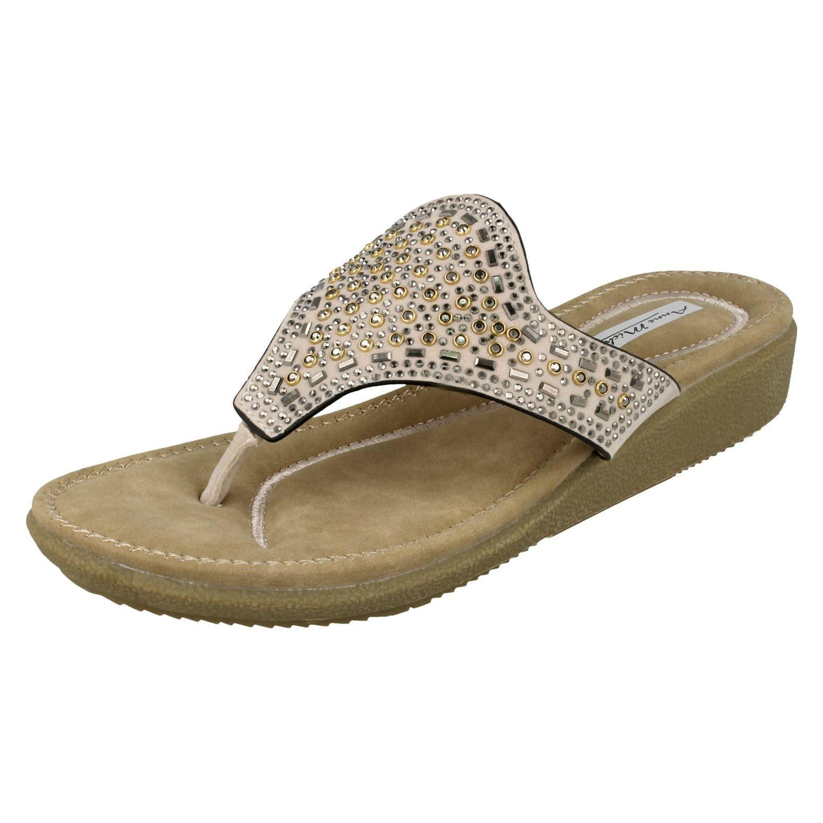 Anne Michelle Ladies Toe Detail Post Sandal - Embellishment Detail Toe 255f87