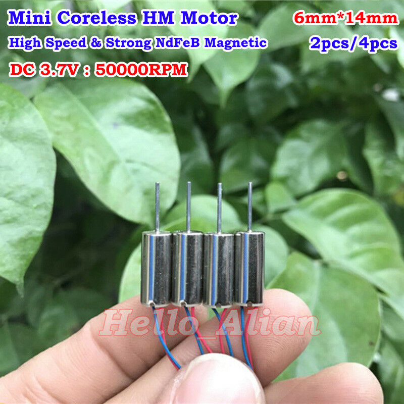 6mm*12mm DC 3V 3.7V 49000RPM High Speed Mini Coreless HM Motor RC Drone Aircraft