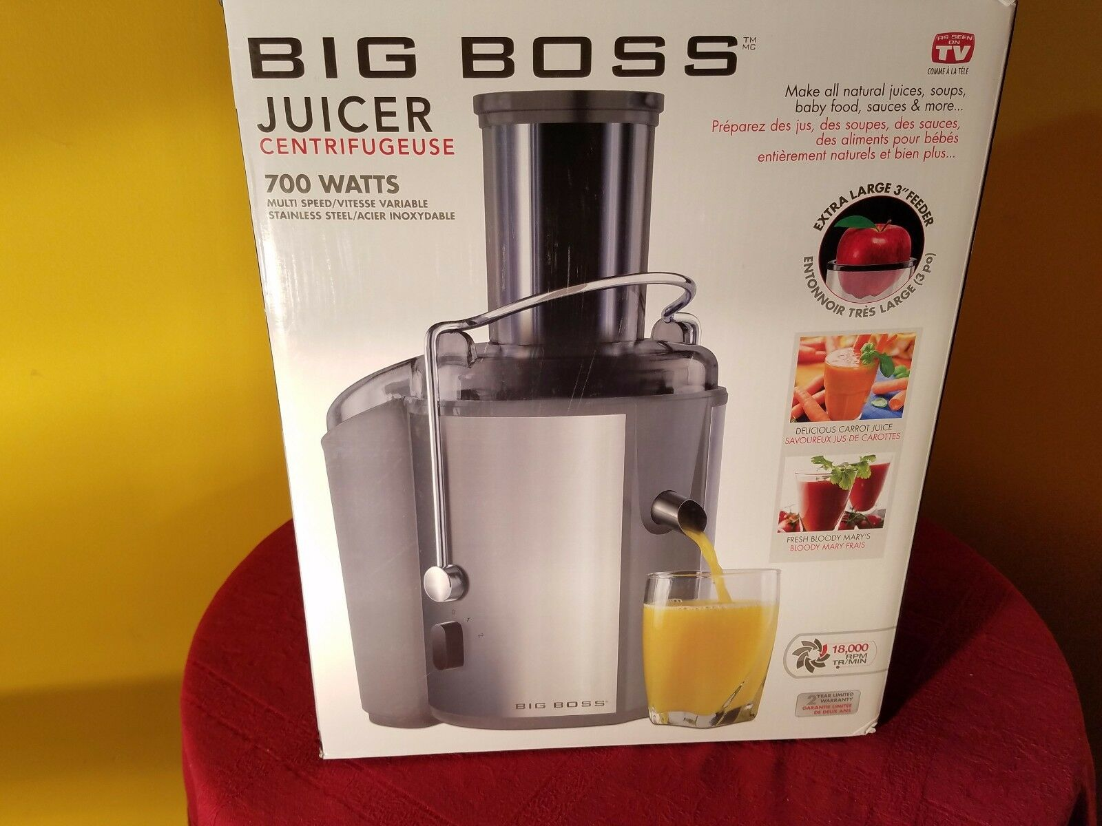 Big Boss 700 W 18,000 tr min en acier inoxydable multi vitesse Juicer