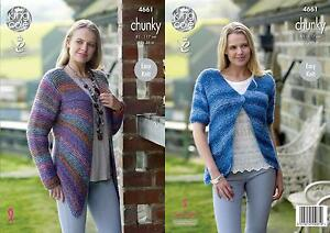 5b20e755f6b4 Image is loading King-Cole-4661-Knitting-Pattern-Womens-Cardigans-in-