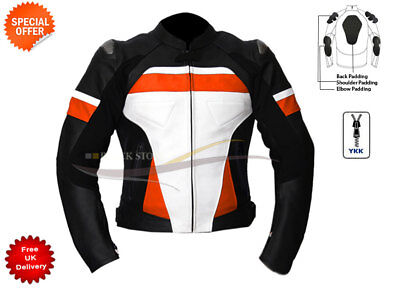 RACING LEDERJACKE IN ktm orange schwarz weiß Motorradjacke