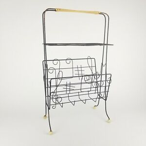 Vintage Wire Record Stand LP Rack Holder Floor Musical Notes Handle 1950s 1960s
