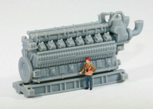 HO Scale 5000HP 16 Cylinder Industrial Natural Gas Engine Model RR Flatcar Load