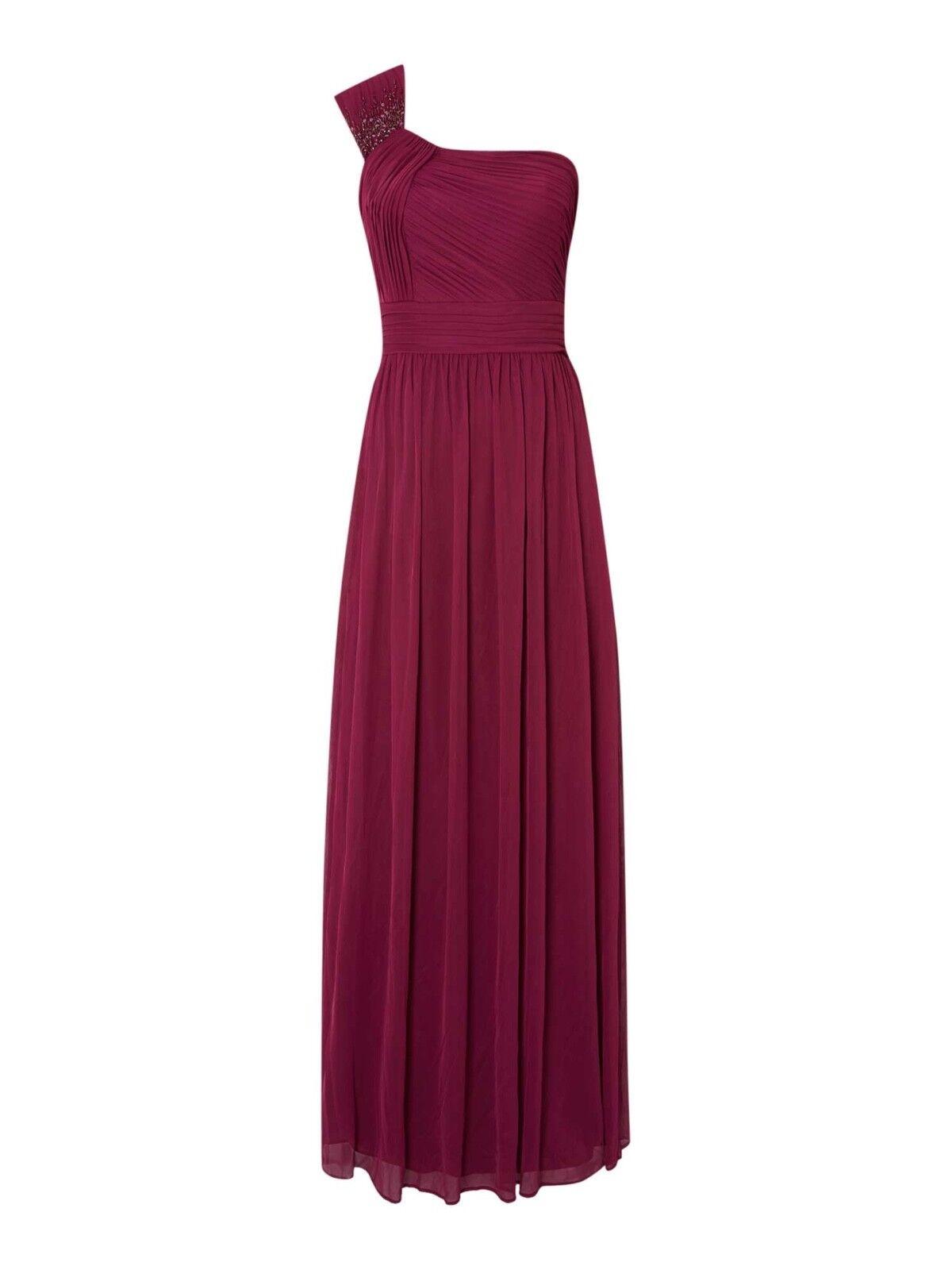 BARGAIN   BNWT JS COLLECTION BERRY BRIDESMAID MAXI MAXI MAXI DRESS Size  12 RRP  5d4723