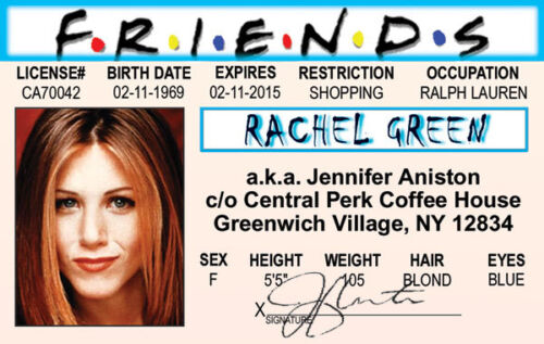 Of Jennifer Drivers Ebay Id Show Tv Green Friends The Aniston License Rachel Card