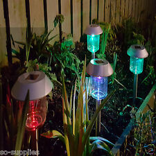 12 PACK  COLOUR CHANGING SOLAR POWERED POWER POST LED OUTDOOR GARDEN LIGHTING