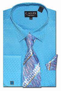 C allen mens dress shirts necktie combo french cuff for Mens dress shirts with cufflink holes