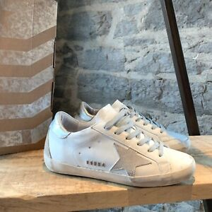 Golden-Goose-White-amp-Silver-Superstar-Low-top-Sneakers-SIZE-36-IT-6-US