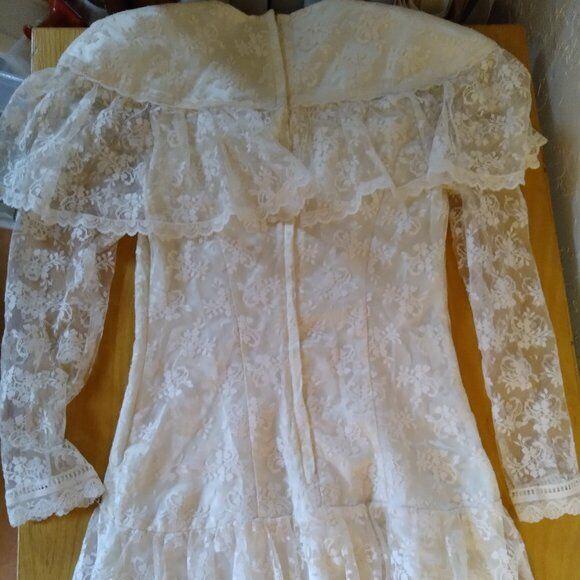 Vintage Gunne Sax White Lace Prairie Dress - image 5