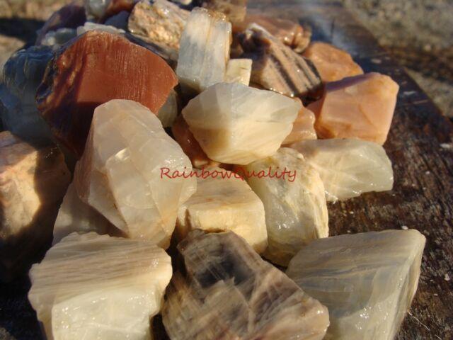 Natural MULTI COLOR MOONSTONE Rough Rocks - 1/2 Lb Lots - Cabbing, Tumbling