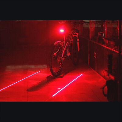 2 Laser + 5 LED Cycling Bicycle Bike Taillight Warning Lamp Flashing Alarm Light