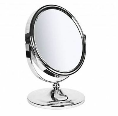 LARGE CHROME SWIVEL FREE STANDING MAGNIFYING COSMETIC SHAVING BATHROOM MIRROR NY