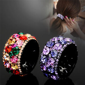 Crystal-Diamond-Hairband-Headband-Hair-Clip-Claw-Ponytail-Holder-Mini-HairbaO-BF