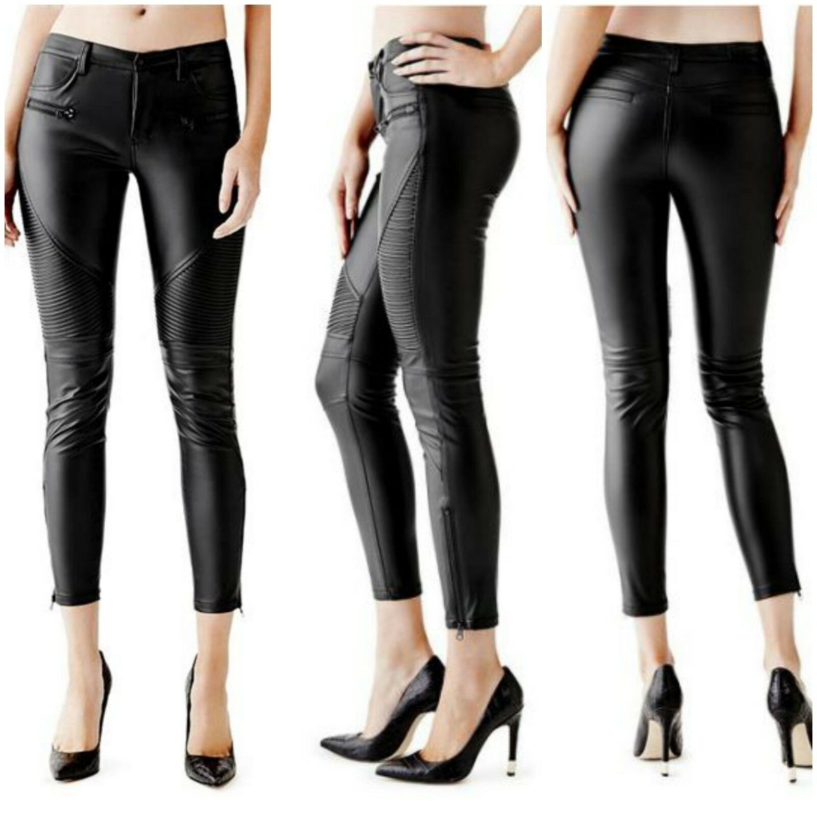 NWT GUESS FAUX LEATHER MOTO  PANTS SIZE 8