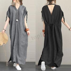 Women-Short-Sleeve-Backless-Long-Maxi-Dress-Tunics-Full-Length-Shirt-Dress-Plus