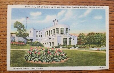 Vintage 1945 Linen Postcard Hall of Waters Excelsior Springs Missouri History Mineral Water One Cent Stamp Travel Souvenir Paper Collectible