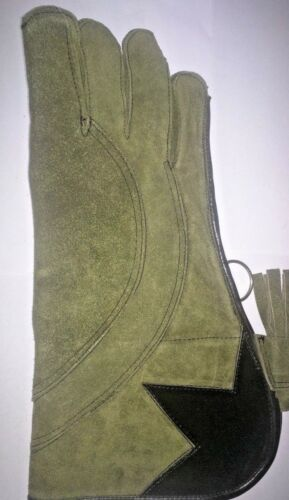 Falconry Small Eagle Right hand Glove 3 Layer Dark Green Suede Leather 14