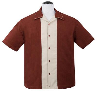 Steady RUM TIKI Retro Rockabilly Hawaiian Bowling Shirt US Size S /& XL Black