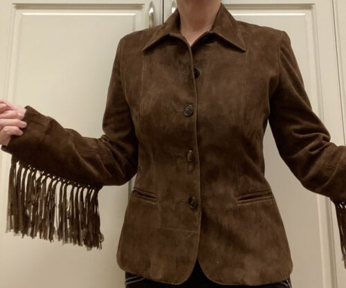 Suede Ralph Lauren Brown Jacket Fringe Ladies Sz6