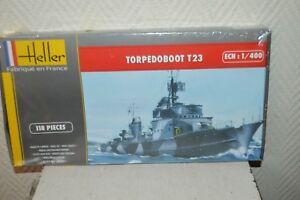 MAQUETTE-BATEAU-NAVIRE-TORPEDOBOOT-23-BY-HELLER-NEUF-1-400-BOAT-MODEL-KIT