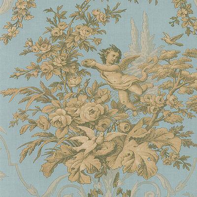 "12""/31cm Wallpaper SAMPLE  Victorian Cherub Floral Blue Gold CH28309"