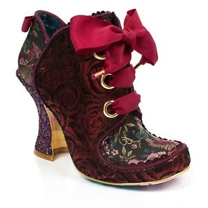 NEW-IRREGULAR-CHOICE-BARONESS-RED-B-LACE-BOW-HEELS