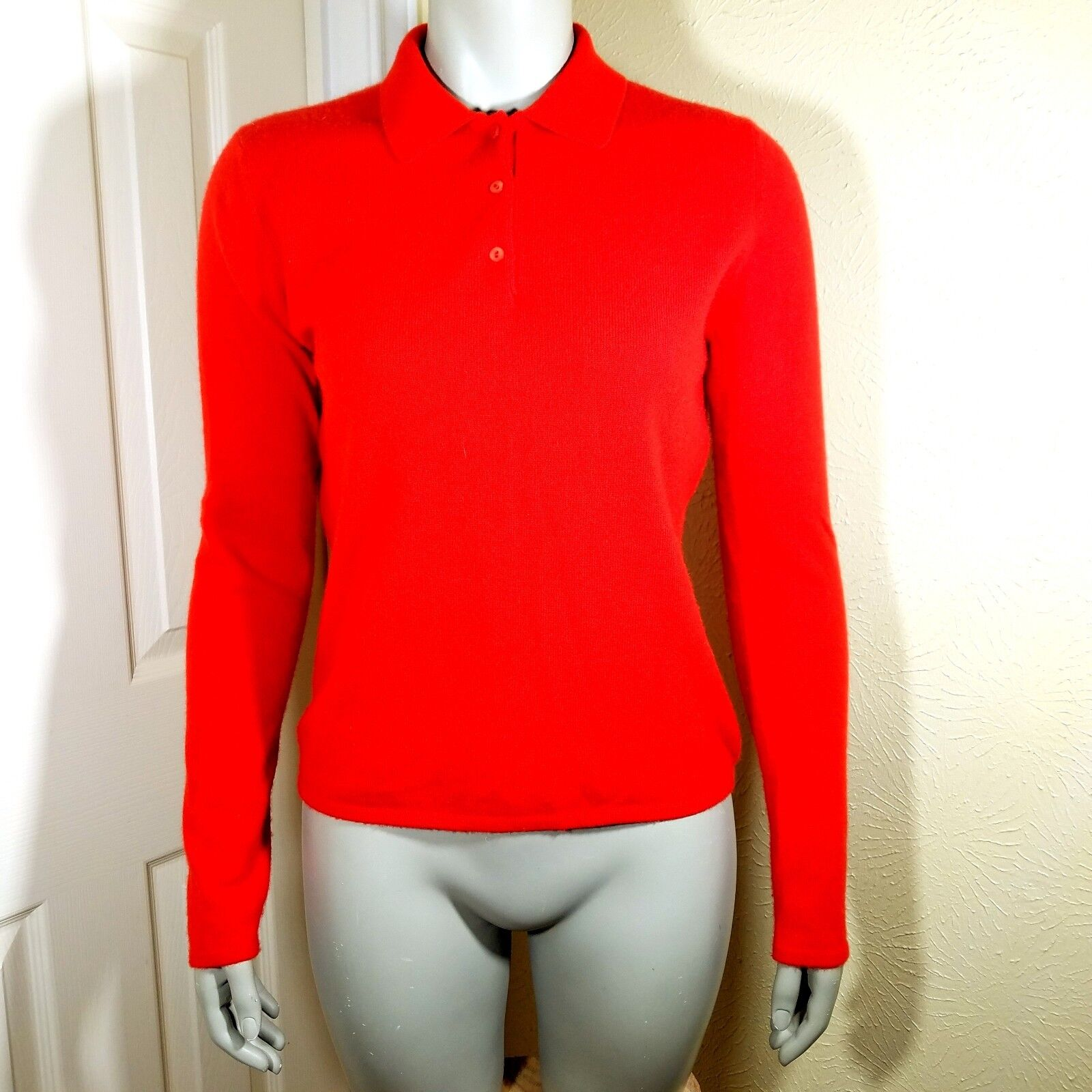 Saks Fifth Avenue Women's M Red 100% Cashmere Knit Sweater Christmas Career