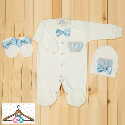 Personalise Baby Boy Diamante Crown /& Blue Bows Baby grow Romper Suit Outfit