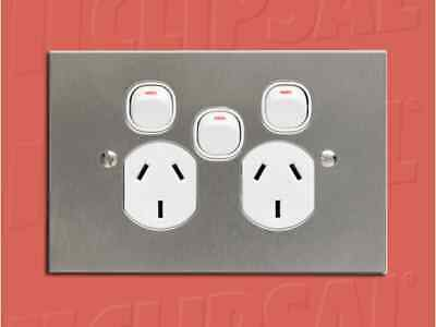 SC2015X-WE Clipsal Slimline 10A Double PowerPoint with Extra Switch 240V-White