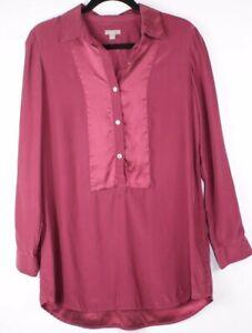 J-Jill-Women-039-s-Burgundy-Button-Front-Long-Sleeve-Blouse-Shirt-100-Silk-Size-S
