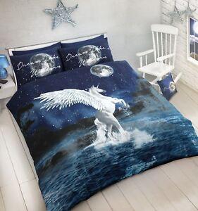 046617618cc0 White Star Unicorn Duvet Set Quilt Cover W/Pillowcase Cotton Rich ...