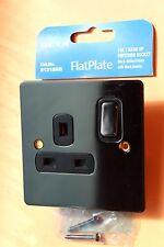 Deta 8131BNB Polished Black Nickel FlatPlate 1G DP Plug Socket 13A Black Insert