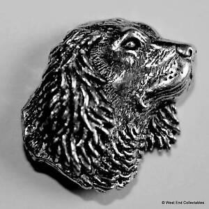 Pewter Springer Spaniel Dog Pheasant Brooch Pin  Signed