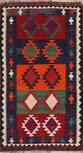 Vintage-Southwestern-Geometric-Reversible-Kilim-Area-Rug-Hand-Woven-Navajo-3-039-x6-039