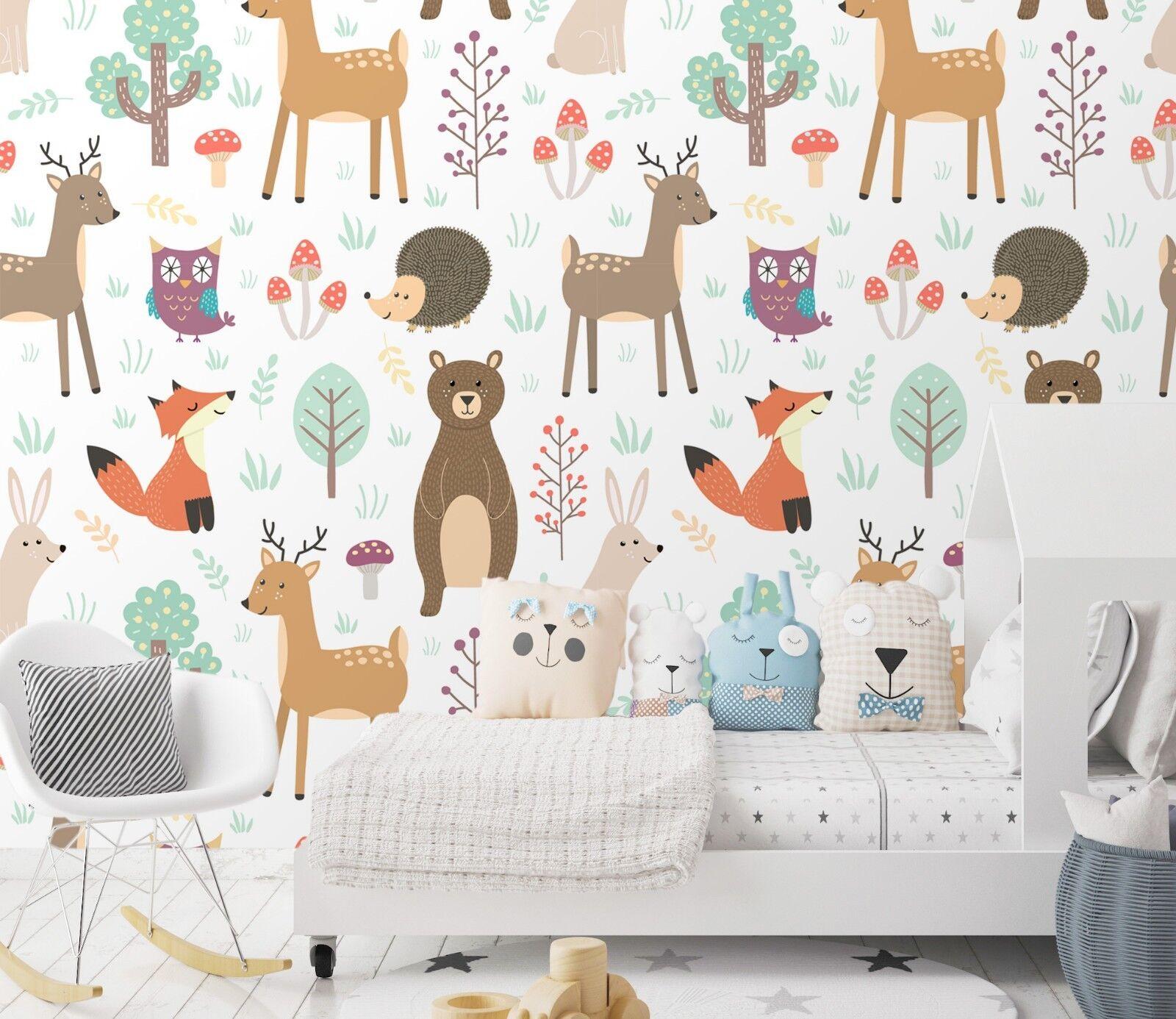 3D Forest Animal Cartoon 45  Wallpaper Murals Wall Print Wallpaper Mural AJ WALL