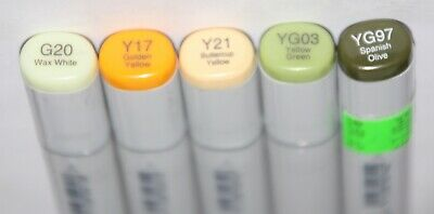5 Copic SKETCH Markers MOSS /& YELLOW  Set-Alcohol Based Ink
