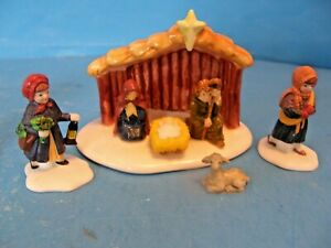 """SET OF 2 THE ORIGINAL SNOW VILLAGE """"OUTDOOR NATIVITY SCENE"""" AND """"THE YULE LOG"""""""