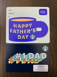 Canada-Series-Starbucks-034-FATHERS-DAY-SET-2020-034-Lot-of-2-Gift-Cards-New-No-Value