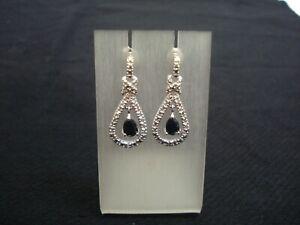 Silber-Ohrringe-Stecker-Art-Deco-Style-Rhodiniert-mit-grossem-Saphier