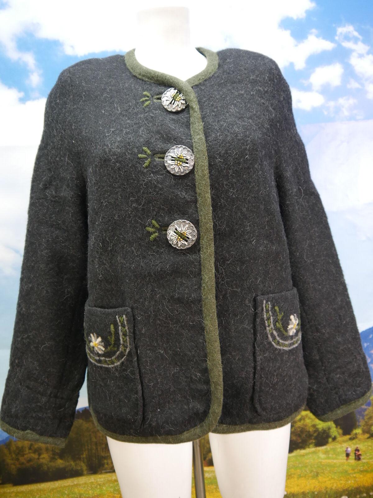 Amann schwarz kurzer Walker mit Edelweißstickerei Trachtenjacke Jacke Gr.38