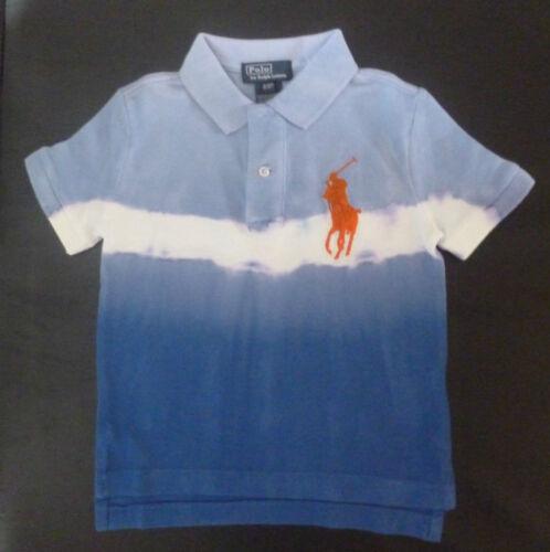 Boys RALPH LAUREN large pony bleach//tie dye look polo Shirt 2T /& 3T Genuine