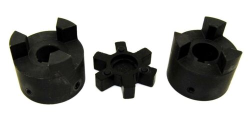 "7//8/"" to 1-1//8/"" L100 Flexible 3-Piece L-Jaw Coupling Coupler Set /& Rubber Spider"