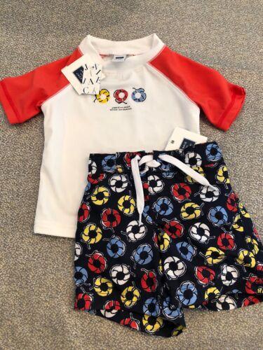 NWT Janie and Jack baby boy swim suit 2-piece lifeguard rashguard SET 3 6 TWINS