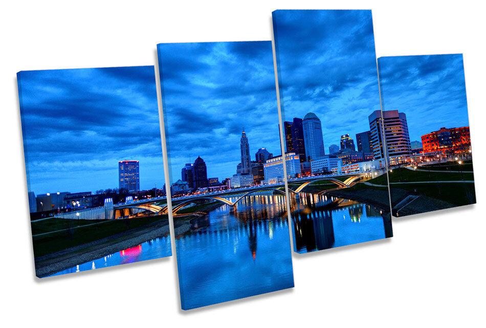 Columbus Ohio City Skyline Skyline Skyline Tela Wall Art quattro Pannello Stampa a5951a