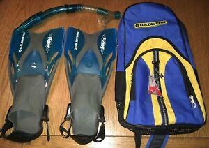 U.S. Divers Flame Adjustable Transparent Blue Swim Fins ...