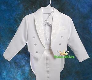 5-Pcs-Set-Boy-Formal-Wedding-Suit-Tuxedo-Tail-Page-Boy-White-Kid-Size-8-ST001A