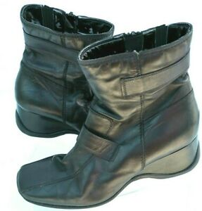 Clarks-Ankle-Boots-Woman-Size-4-5-UK-Black-Leather-Winter-Casual