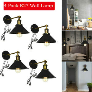 Details About 2 Pack Retro Wall Sconces Light Lamp Plug In Cord With On Off Switch Indoor