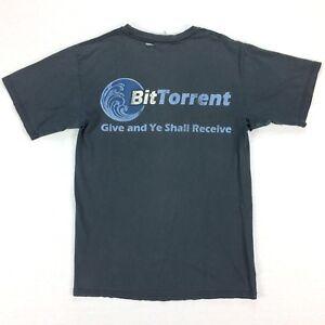 Vtg-Destroyed-BitTorrent-T-Shirt-MEDIUM-Nicely-Faded-Black-Distressed-Grunge
