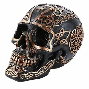 Black Gold Celtic Skull Pattern Tribal Human Skull Collectible Home Decor